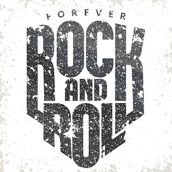Rock and roll grunge vintage etykieta.