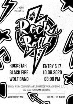 Rock and roll monochromatyczny plakat reklamowy wektor. rock n roll show ogłoszenie vintage banner, etykieta muzyczna, ulotka z zaproszeniem do występu zespołu heavy metalowego, bilet, szablon promocji grunge płaska konstrukcja