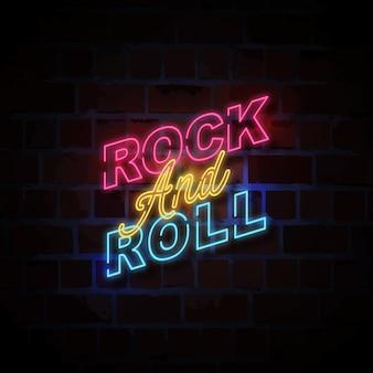 Rock and roll neon styl ilustracji znak