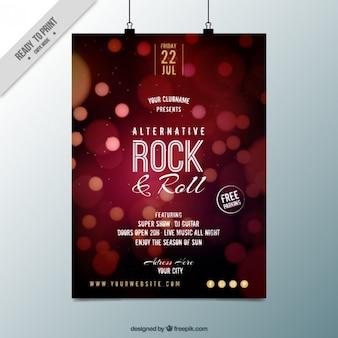 Rock and roll party plakat z efektem bokeh
