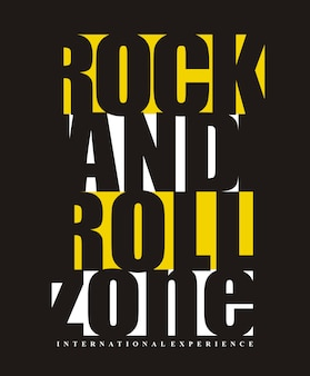 Rock and roll typografia do nadruku
