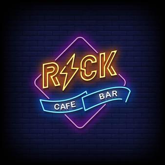 Rock cafe bar neonowe znaki w stylu tekstu wektor