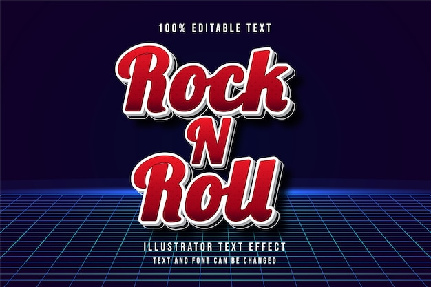 Rock n roll, edytowalny efekt tekstowy 3d.