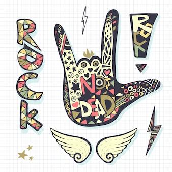 Rock nie żyje, sylwetka znak ręką, szablon grunge do wydruku muzyki lub naklejki