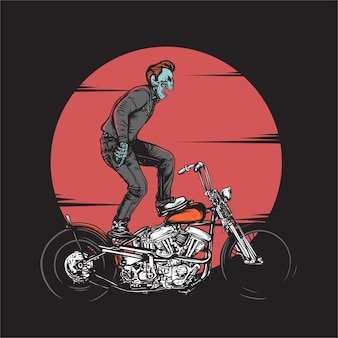 Rockabillly skull riding bike