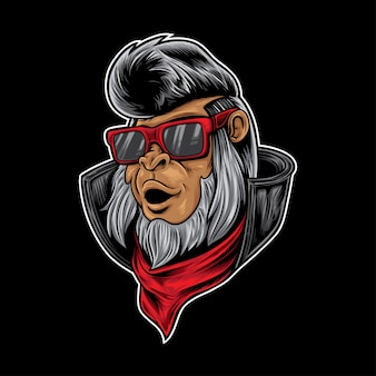 Rocker hipster małpa
