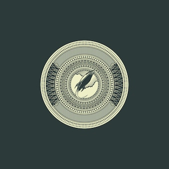 Rocket badge logo grawerowanie stylu dolara