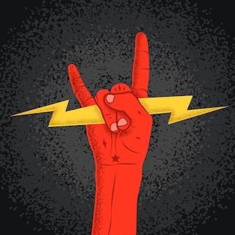 Rockowa czerwona ręki sylwetki mienia błyskawica z rocznik teksturą. symbol rogów rock and roll. ilustracja