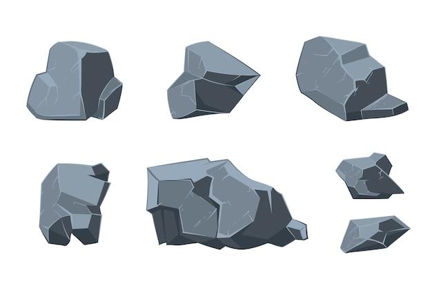 Rockowe elementy kreskówki wektorowej. struktura mineralna, ilustracja szablonu naturalnego modelu