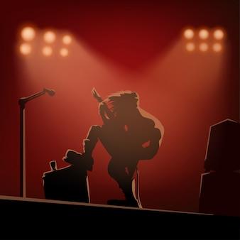 Rockowy gitarzysta na scenie