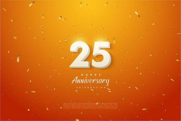 Rocznica 25-ty tło z numerami 3d na tle pomarańczowym i nakrapiane.