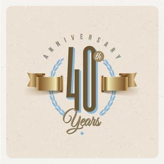 Rocznica 40 rocznicy godło z złote wstążki i wieniec laurowy - ilustracja
