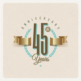 Rocznica 45 rocznicy godło z złote wstążki i wieniec laurowy - ilustracja