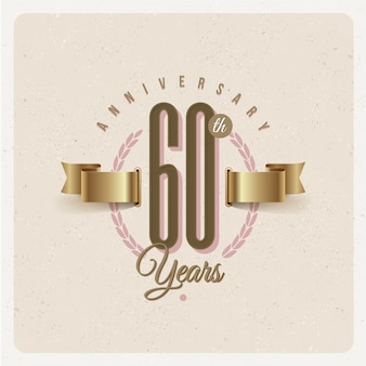 Rocznica 60 lat rocznica godło z złote wstążki i wieniec laurowy - ilustracja
