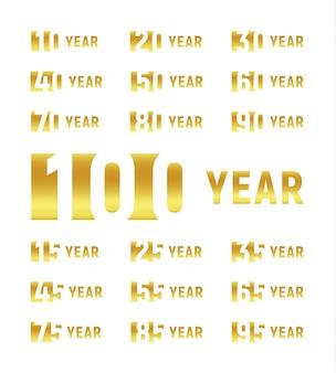 Rocznica firmy, zestaw ujemnych znaków spacji, złote cyfry, rok, liczba
