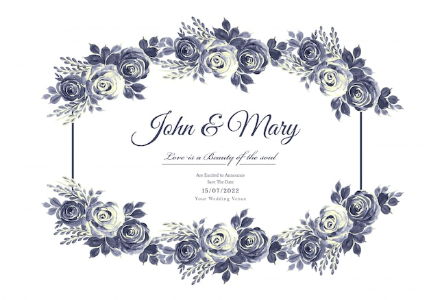 Rocznica ślubu dekoracyjna kwiecista rama