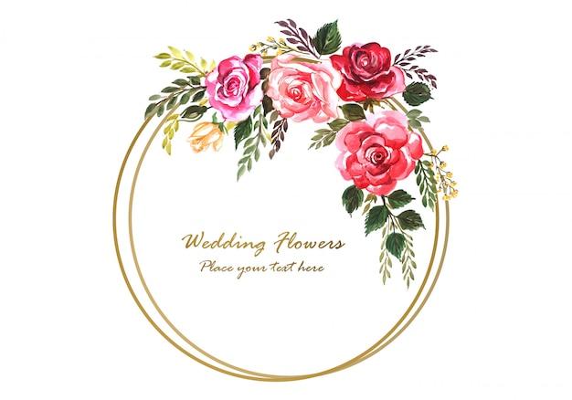 Rocznica ślubu dekoracyjne ramki kwiatowy dla karty z pozdrowieniami