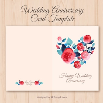 Rocznica ślubu karta z akwarela kwiatami