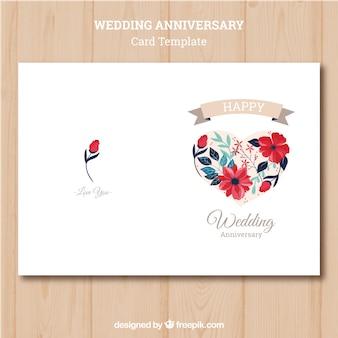 Rocznica ślubu Karta Z Kolorowymi Kwiatami Darmowych Wektorów