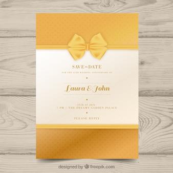 Rocznica ślubu karty w złotym stylu