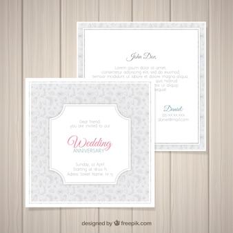 Rocznica ślubu Karty Z Kwiatowy Wzór Darmowych Wektorów