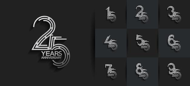 Rocznica zestaw logo w kolorze srebrnym
