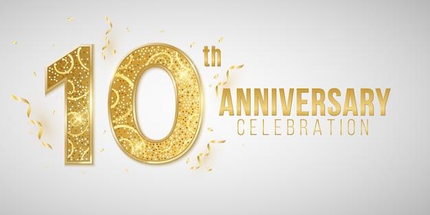 Rocznicowa okładka z eleganckich złotych cyfr na białym tle z opadającym konfetti i świecidełkiem. kartkę z życzeniami na urodziny lub wesele.
