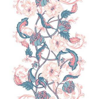 Rocznik bezszwowa granica z kwitnącymi magnoliami, różami i gałązkami