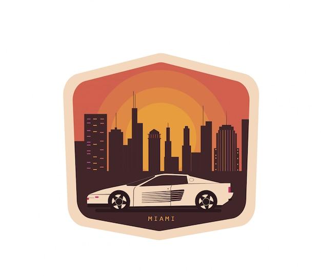 Rocznik ilustracja z samochodem