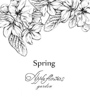 Rocznik karta z kwiatów lineart