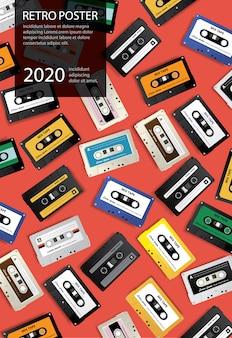 Rocznik kasety retro taśmy projekta szablonu wektoru plakatowa ilustracja