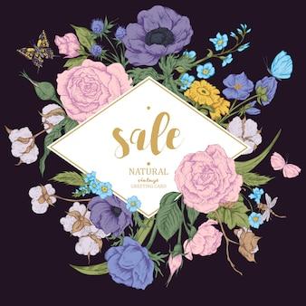 Rocznik kwiecista wektorowa sprzedaży karta z różami, anemonami i butterf