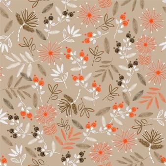 Rocznik kwitnienia delikatnych haftów bezproblemowy wzór florystyczny w wektorowym ręcznym szyciu nastrój do wystroju domu, mody, tkanin, tapet, opakowań i wszystkich nadruków