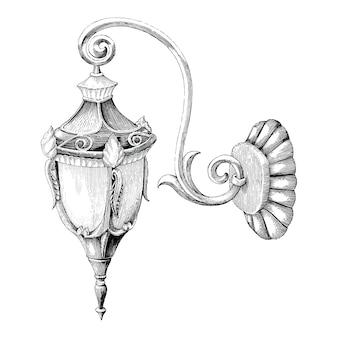 Rocznik lampy ulicznej ręki rytownictwa rysunkowy styl na białym tle