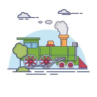 Rocznik lokomotywy parowy kolejowy pociąg