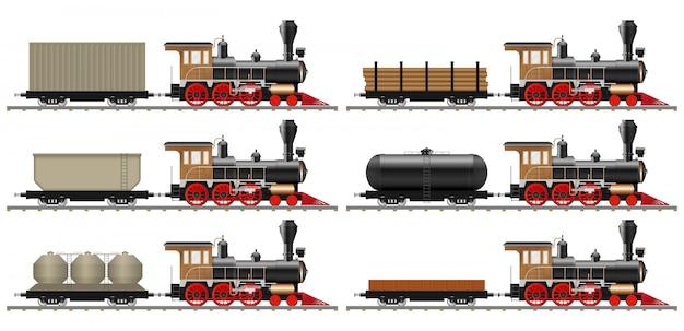 Rocznik parowa lokomotywa i furgon ilustracja odizolowywająca