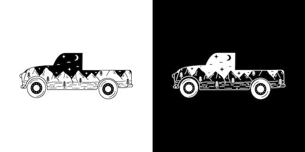 Rocznik plenerowa samochodowa monoline ilustracja