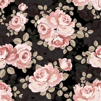 Rocznik różowej róży bezszwowa tkanina.
