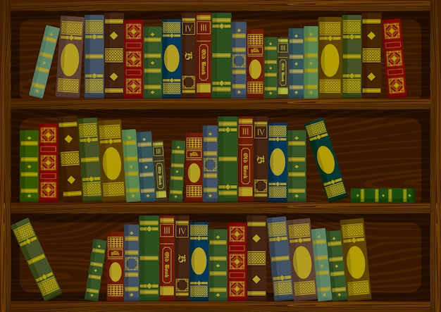 Rocznik stare książki na drewnianej półce od bocznego widoku zapasu wektorowej ilustraci