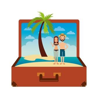 Rocznik walizki para inside z plażowym palma wakacje