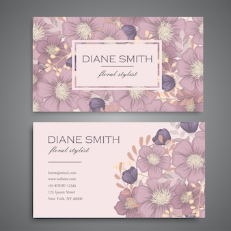 Rocznik wizytówka z kwiatami i jagodami