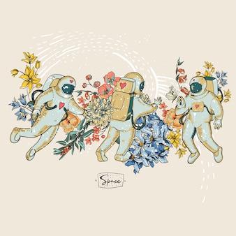 Rocznika astronauta wektorowa ilustracja z kwiatami. science fiction, ręcznie rysowana przestrzeń,