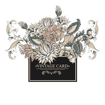 Rocznika barokowa kartka z pozdrowieniami z zawijasami, kwiaty