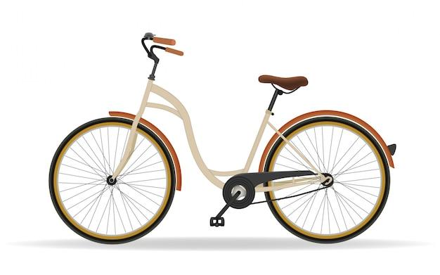 Rocznika bicykl odizolowywający na białym tle. koncepcja fitness i aktywności sportowej. wektor
