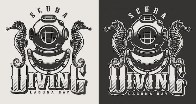 Rocznika centrum nurkowego monochromatyczni logotypy z maską i snorkel ilustracją