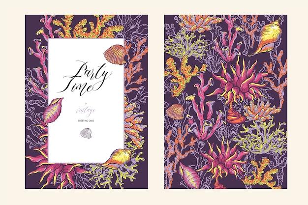 Rocznika dennego życia naturalny kartka z pozdrowieniami, podwodna ilustracja