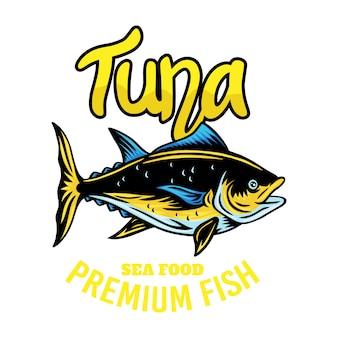 Rocznika emblemata tuńczyka ryba retro odosobniona ilustracja na bielu.