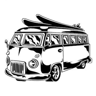 Rocznika graficzny stary szkolny samochód dla wolności podróżuje na plażowym surfingu stylu życia obozuje na zewnątrz retro zwyczaju samochodowej rysunkowej hipis ilustraci