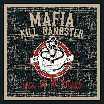 Rocznika grunge stylu czaszka obchodzi się pistolet z tekst ręki rysunkowym wektorem
