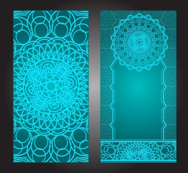 Rocznika karta zaproszenie na ślub z wzorem mandali, kwiatowy wzór mandali i ozdoby. orientalny design. azjatycka, arabska, indyjska,